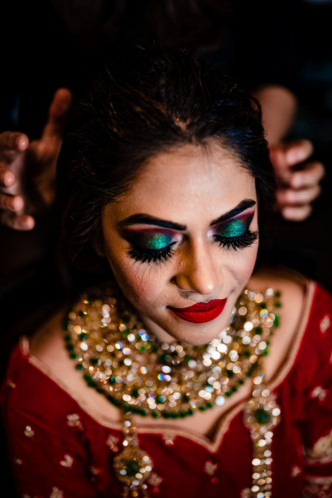 Pooja's Bridal Makeup with Red Bridal Lehenga for her Karjat destination wedding