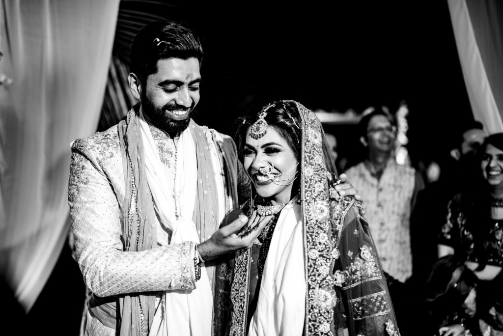 Pooja & Mohit Black & White Photography portrait clicked by WhatKnot