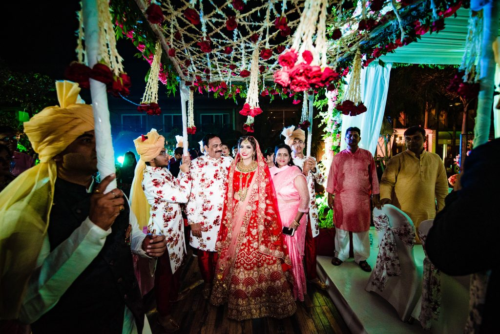 Bridal Entry under Phoolon ki Chaddar at Karjat Wedding at Radisson Blu
