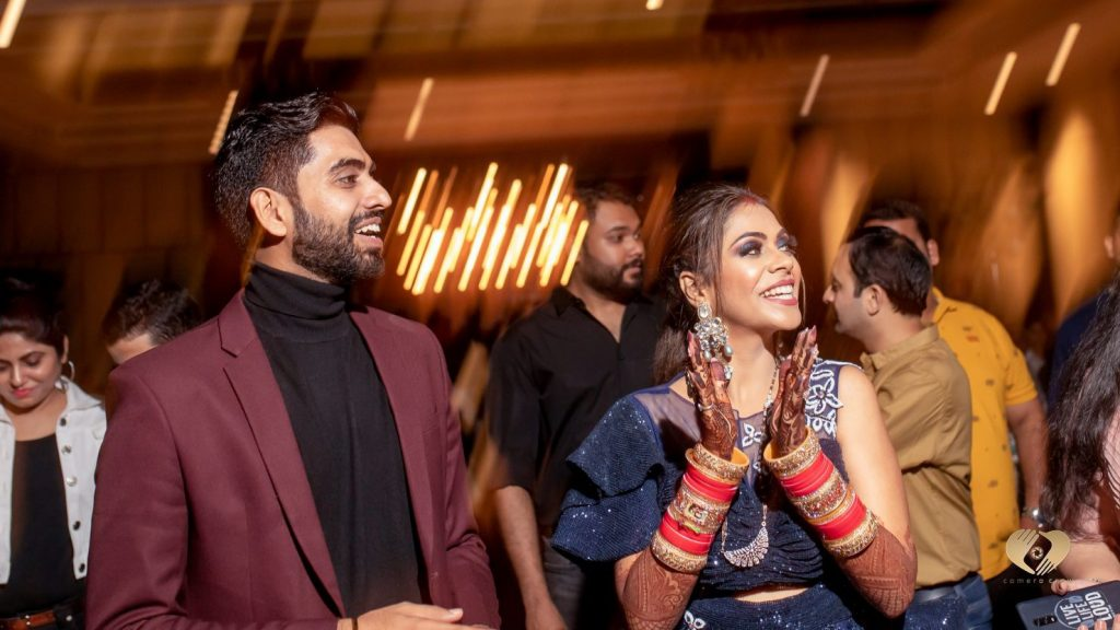 A candid captured from Pooja and Mohit's after party of their Karjat destination wedding