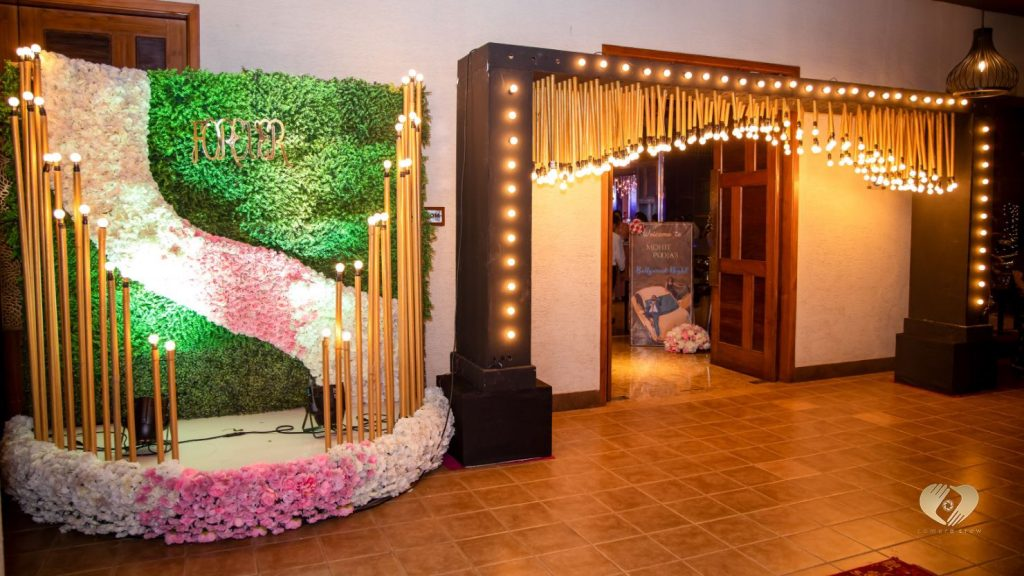 After Party Decor with Flowers & LED Light Entrance of Pooja & Mohit's Karjat destination wedding
