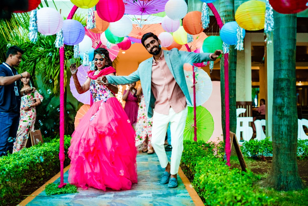 Couple Entry Ideas at Pool Party for Karjat Wedding