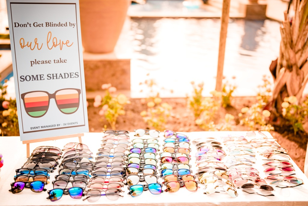 Shades as Pool Party props for Karjat wedding