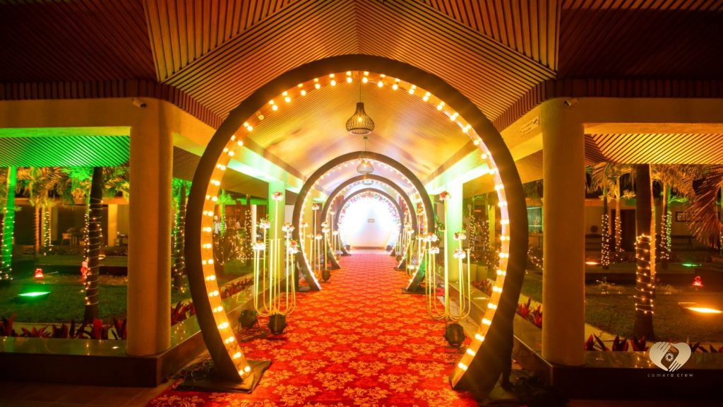 Sangeet Ceremony Entrance Decor Ideas LED & Fairy Lights for Destination wedding in Karjat