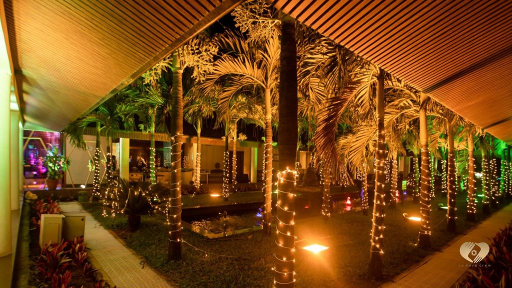 Perfectly lit trees for Pooja and Mohit's sangeet ceremony at Radisson Blu Karjat