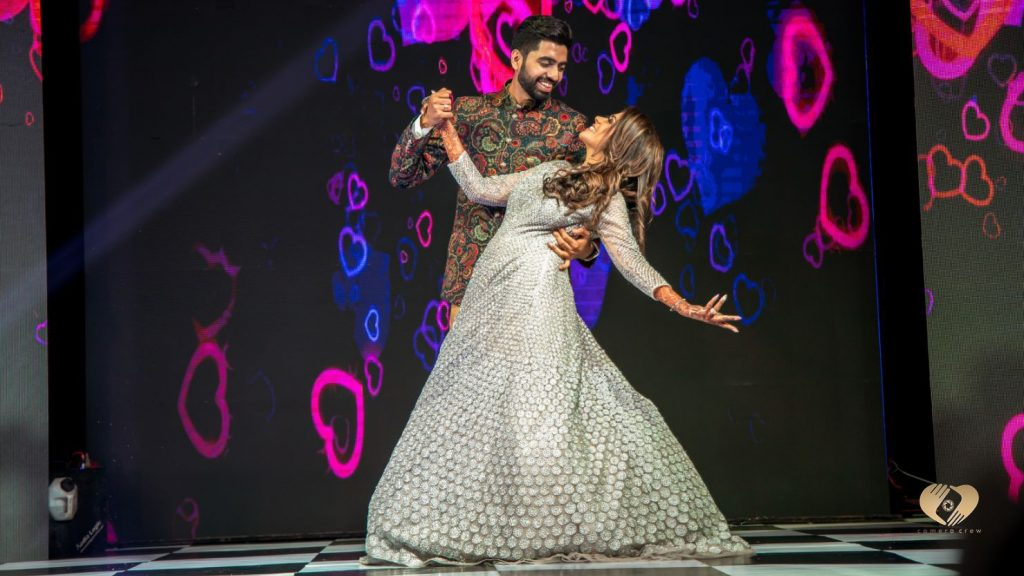 The bride and groom's sangeet dance performance for Karjat Wedding