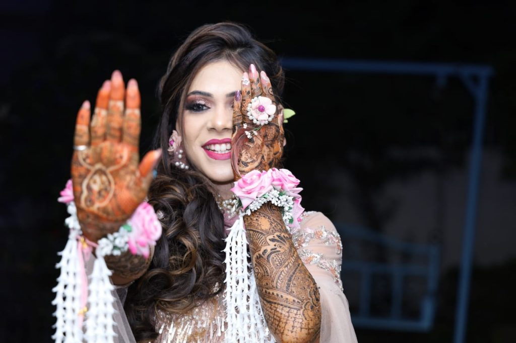 Pink & White Floral Jewelry Designs for Mehendi Ceremony