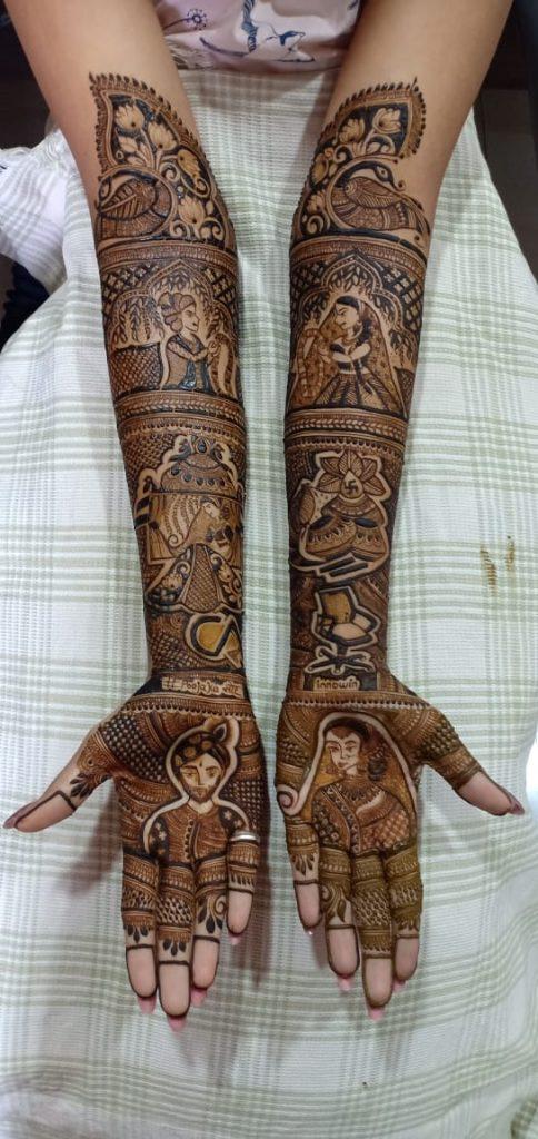 Portrait Bridal Mehendi Design by Reshma Shaikh, mehendi artist from Mumbai