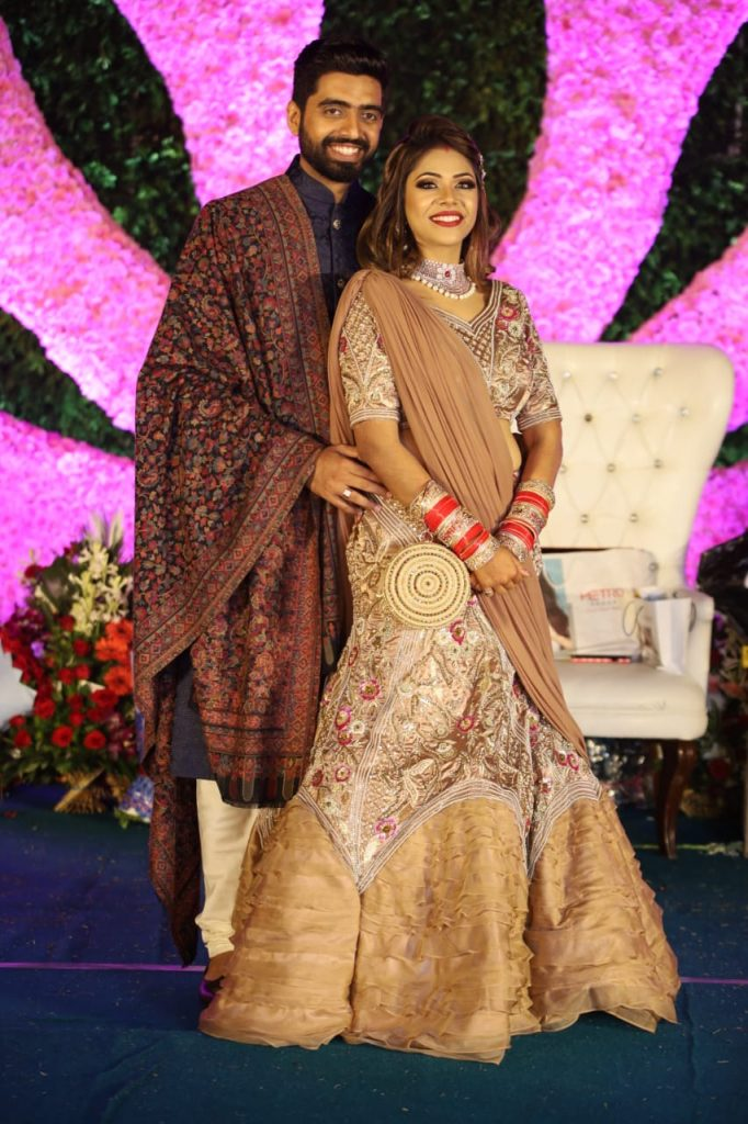 Pooja and Mohit in traditional attires for ethnic themed reception of their Karjat destination wedding