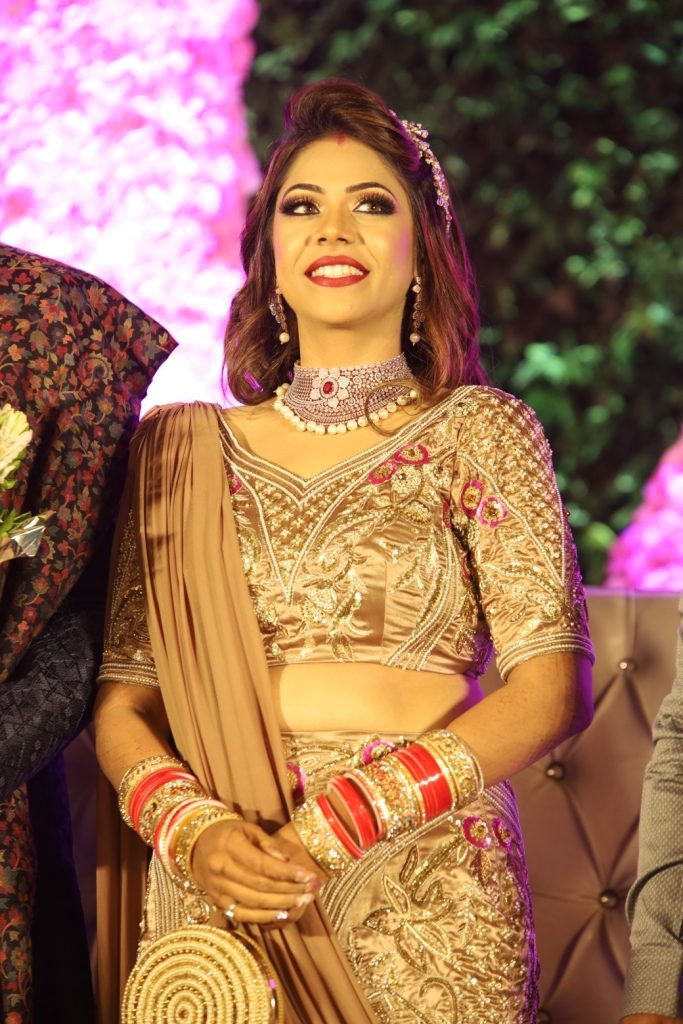 Pooja's final look for ethnic themed reception at her Karjat destination wedding