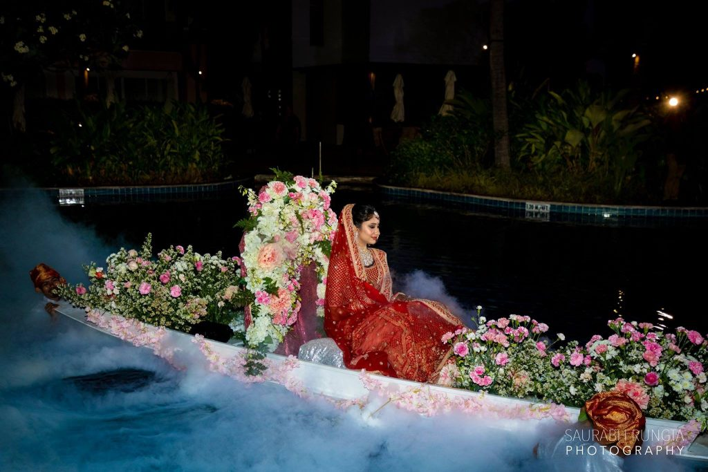Swati's Bridal Entry in an Exotic Flower Decorated Boat at her Indian Destination Wedding in Thailand