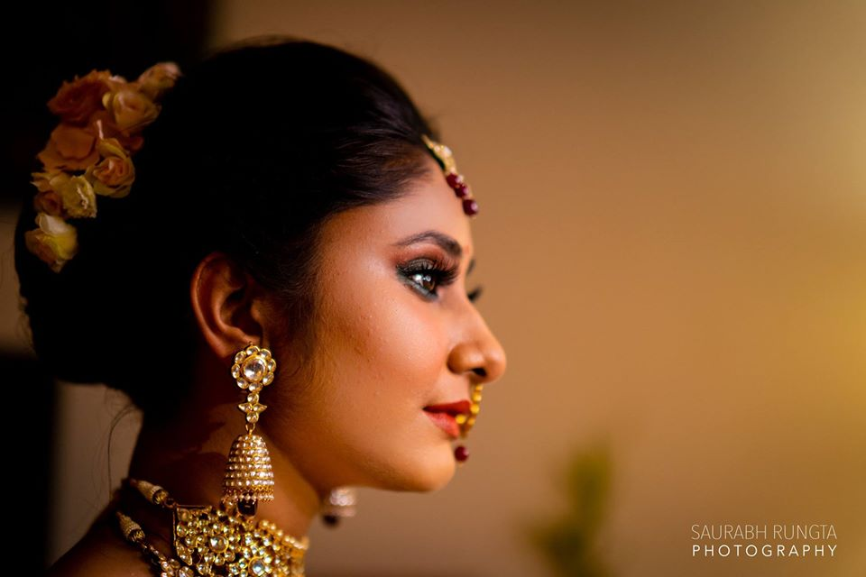 Swati's Indian Bridal Makeup with in Red Sabyasachi Lehenga and Kundan Jewelry