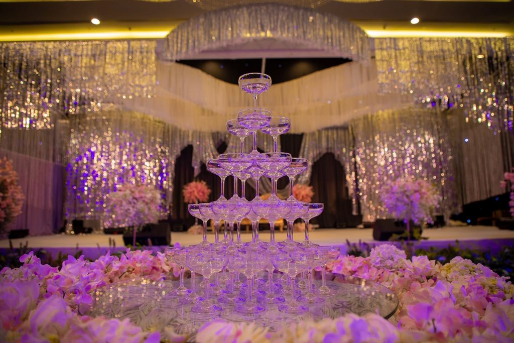A Champagne Fountain at the Indian Destination Wedding in Thailand Reception
