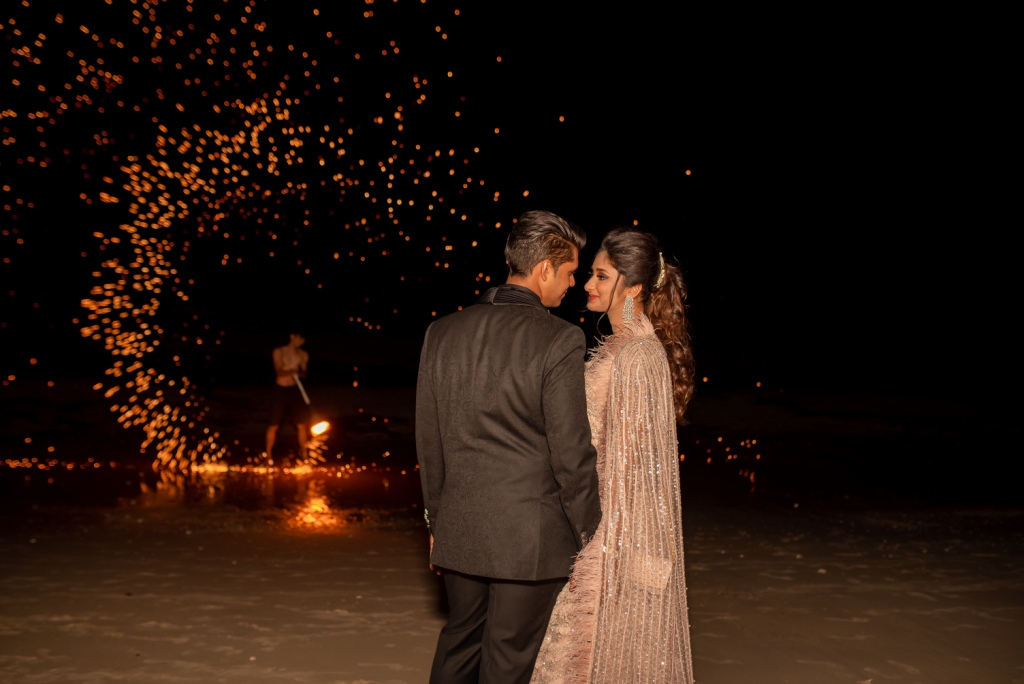 Cute Couple Beachside Portrait at the Cuban Night of their Indian Destination Wedding in Thailand