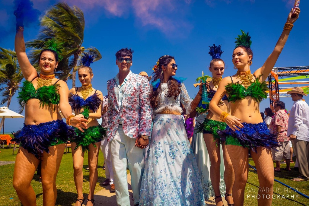 Bride Groom Entry in Brazilian Pool Party of their Indian Destination Wedding in Thailand with Brazilian Dance Artists