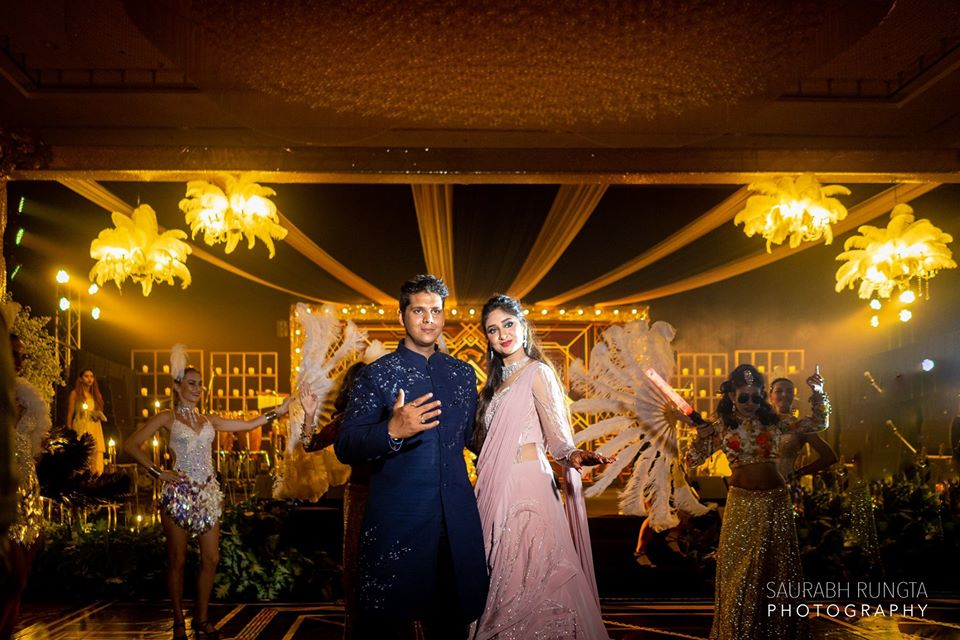 Swati & Saket Posing at the Sangeet Ceremony of their Indian Destination Wedding in Thailand
