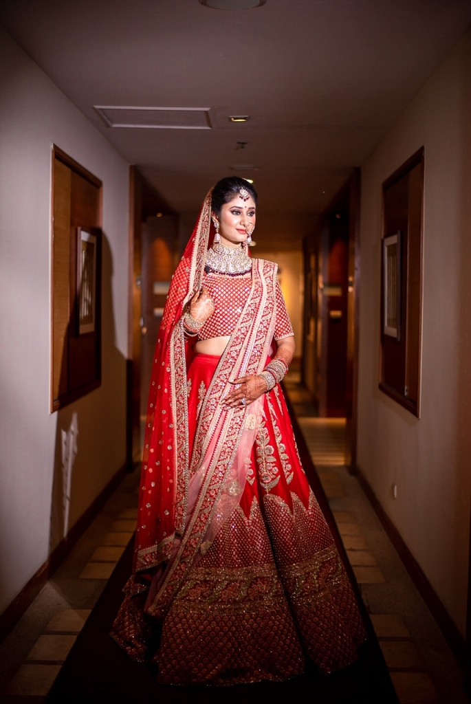 Indian Bridal Portrait Picture of Swati in Red Sabyasachi Bridal Lehenga for her Indian Destination Wedding in Thailand