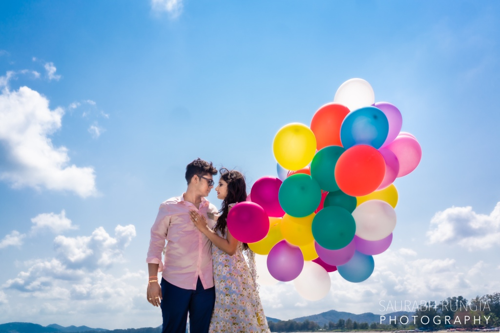 Swati & Saket's Pre Wedding Photoshoot in Thailand with Colorful Balloons