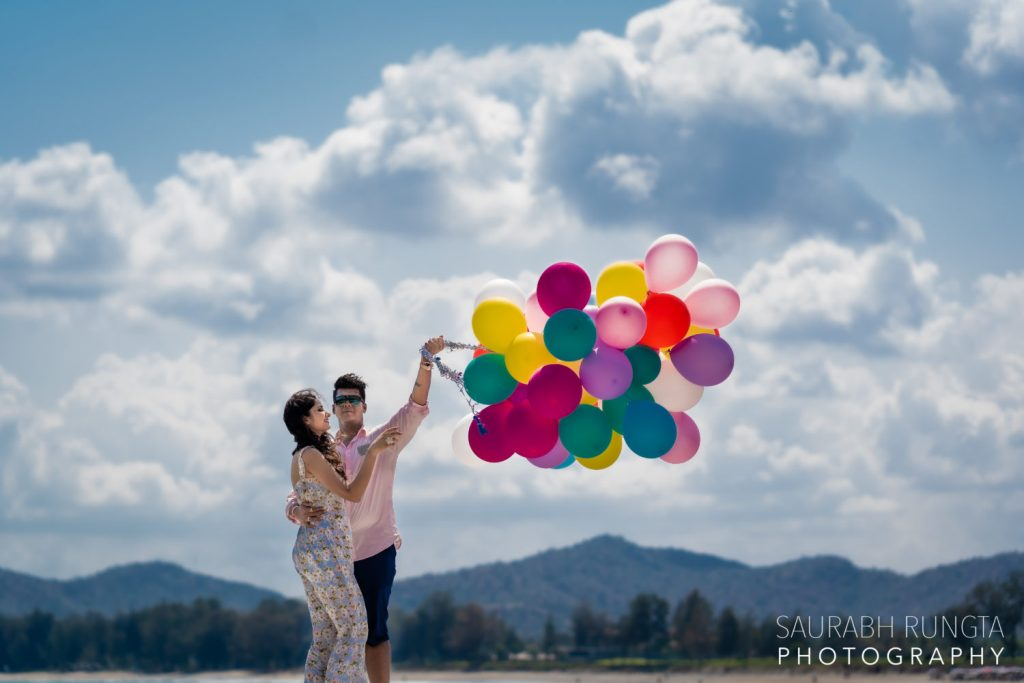 Cute Pre Wedding Photography in Thailand with Colorful Balloons