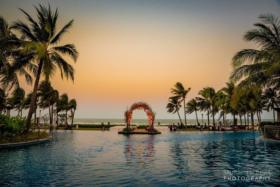 Beautiful Beach Side Floral Wedding Arch at Sheraton Hua Hin Resort for Swati & Saket's Indian Destination Wedding in Thailand