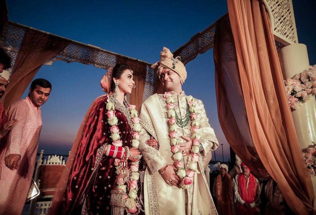 Tarun & Aahana's Destination Wedding in Dubai Aesthetic Varmala Portrait