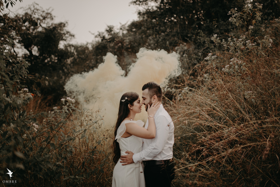 Outdoor Pre-wedding Shoot in Coorg with Smoke Bombs