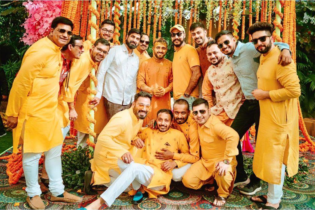 Yash with Groomsmen at Haldi Ceremony at Mayfair Lake Resort Raipur