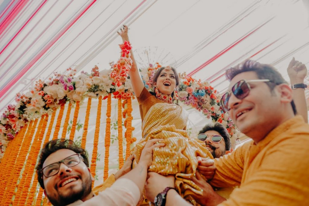 Candid Pictures from Haldi Celebration at Mayfair Lake Resort Raipur