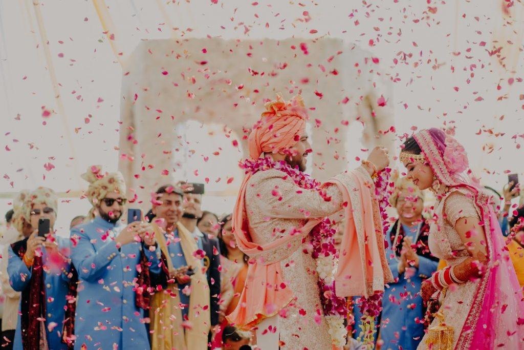 Somi & Yash's Mayfair Raipur Wedding Varmala Ceremony Portrait