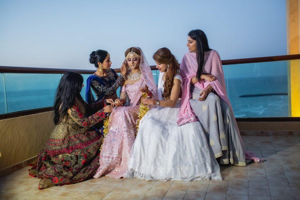 Kanika's Photoshoot with Bridesmaids at her Destination Wedding in Ajman
