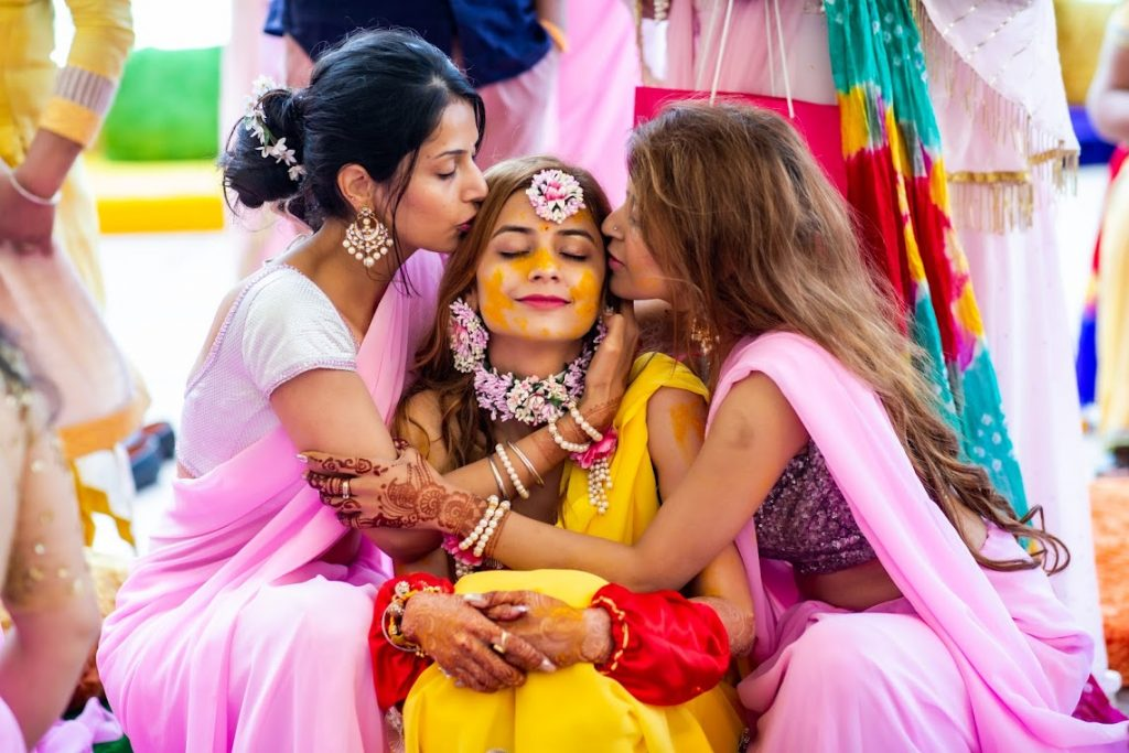 Lovely Shot of Kanika with her bridesmaids at Haldi Ceremony in Dubai