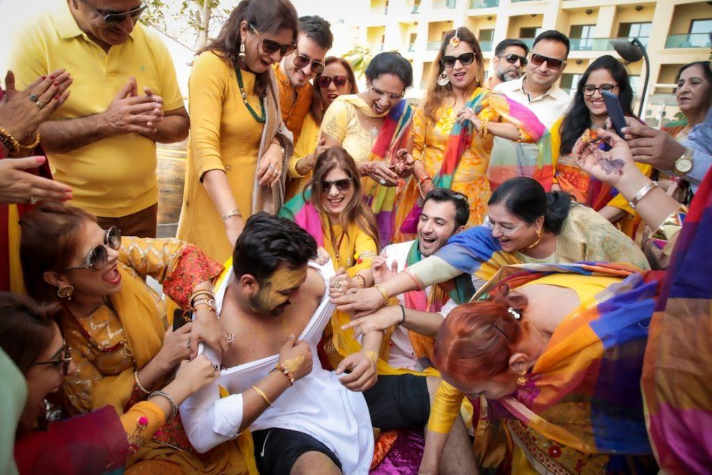 Fun Haldi Ceremony portraits from Indian Wedding in Dubai
