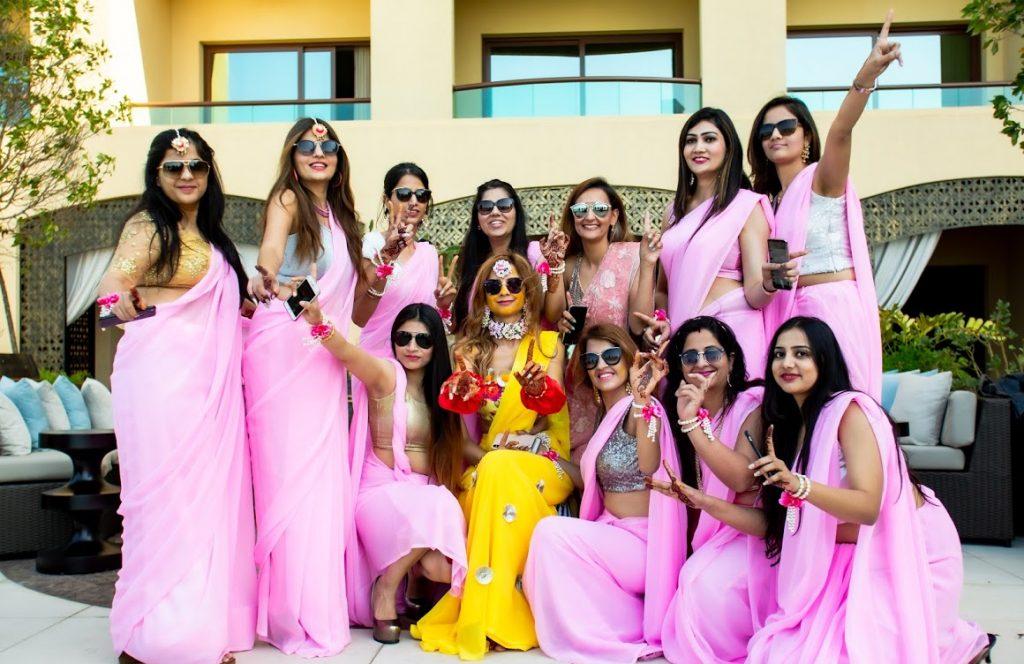 Kanika themed photoshoot with bridesmaids at Haldi Ceremony in Dubai