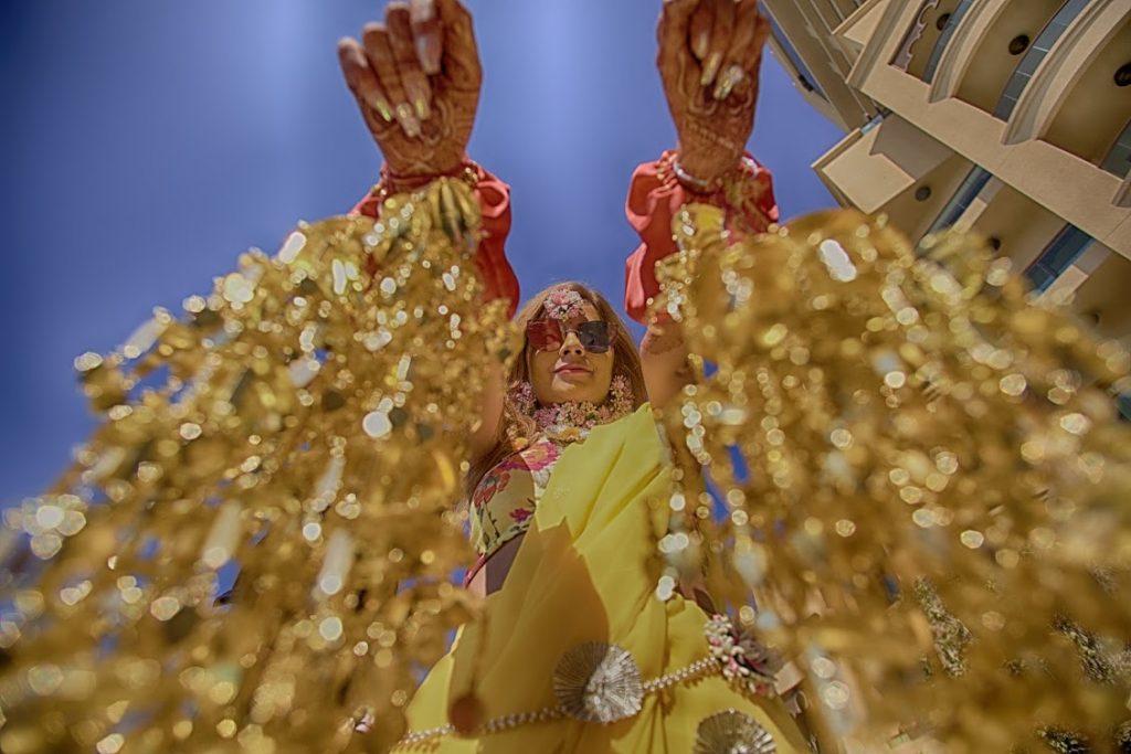 Kanika wearing Kaleera at her Fairmont Ajman Wedding Haldi Ceremony