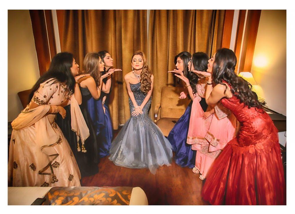 Fun Bridal Photoshoot with Bridesmaids at Fairmont Ajman Wedding