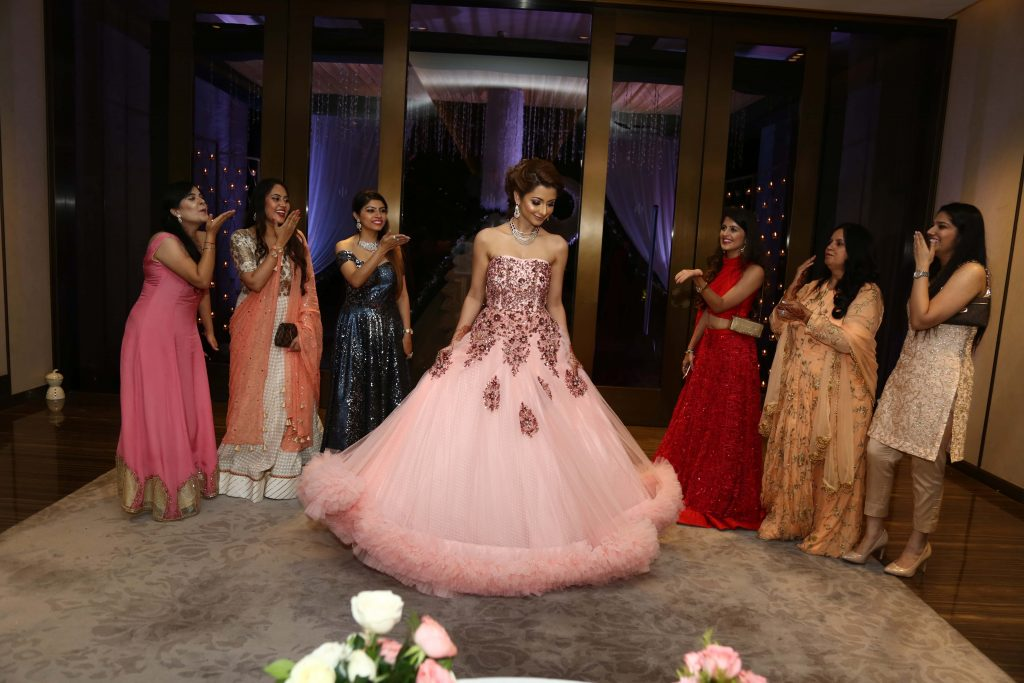 Kanika dressed in a lovely baby pink gown for her Fairmont Ajman Wedding Function