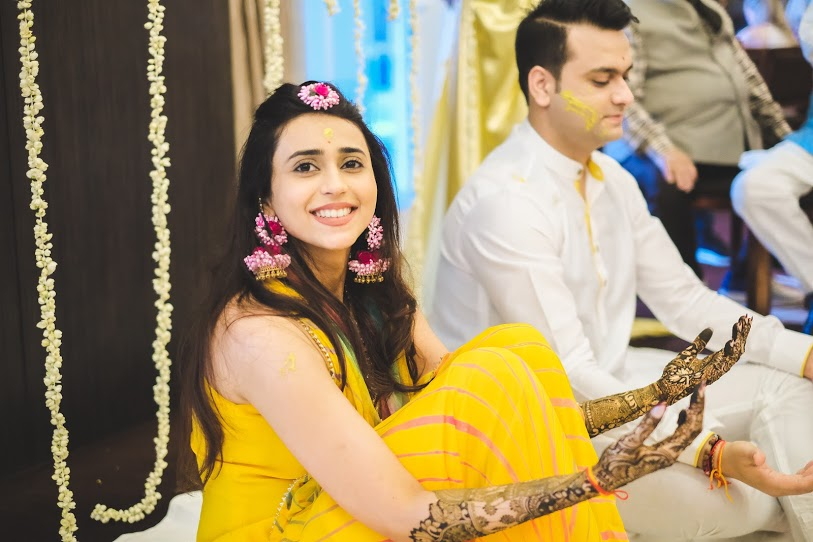 Aahana and Tarun at their Dubai Destination Wedding Mehendi-Haldi Ceremony at Waldorf Astoria Dubai