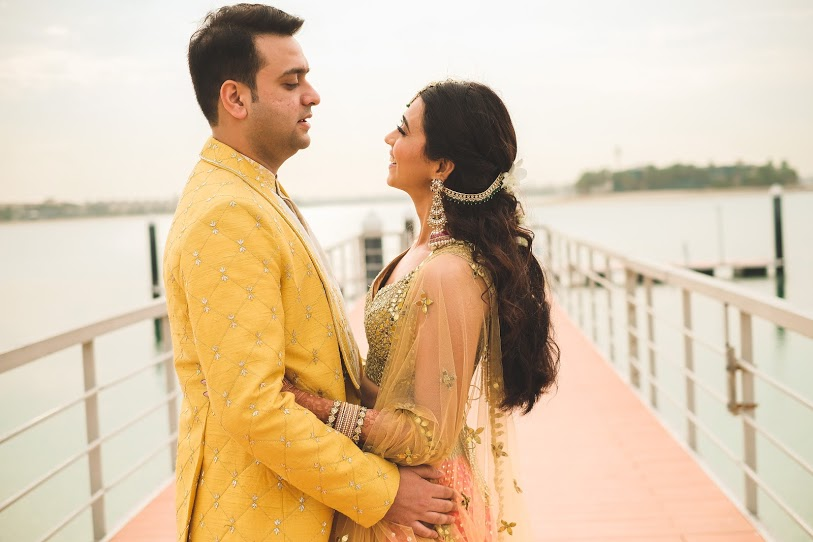 Aahana and Tarun Cute Mehendi Ceremony Portrait from Dubai Destination Wedding