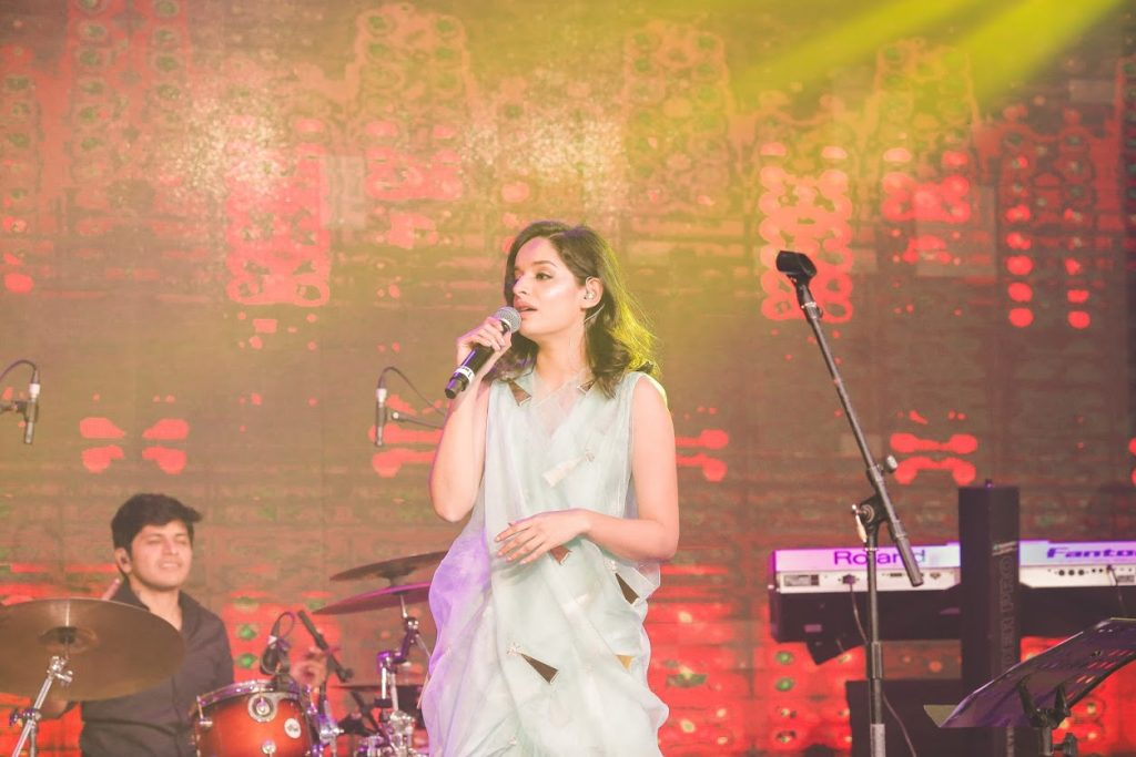 Lisa Mishra performing at Aahana & Tarun's Gold-Themed Cocktail Party in Dubai