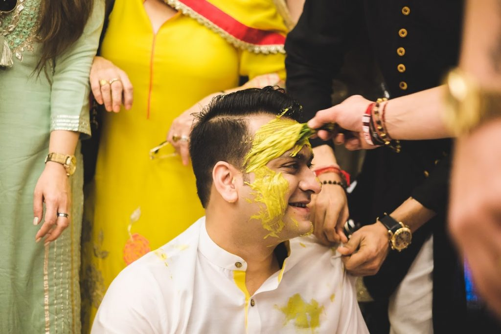 Tarun's Destination Wedding in Dubai Haldi Portraits clicked in Palm Jumeirah Dubai
