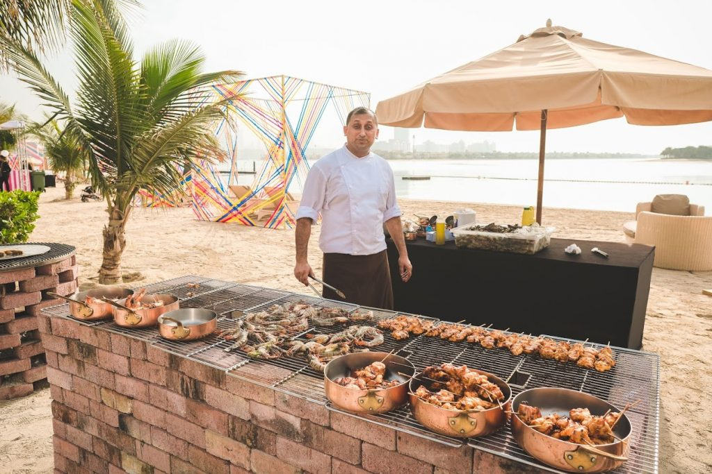 Delicious Food Grilling by the Beachside at the Mehendi Party in Dubai