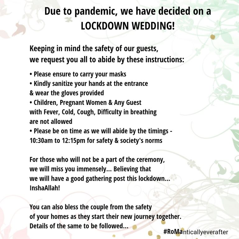 Precautionary wedding invites for guests of Mahdiyeh & Royson's Intimate Indian Wedding