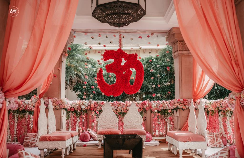 Beautiful Peachy Mandap decor for a small intimate weddings in lockdown