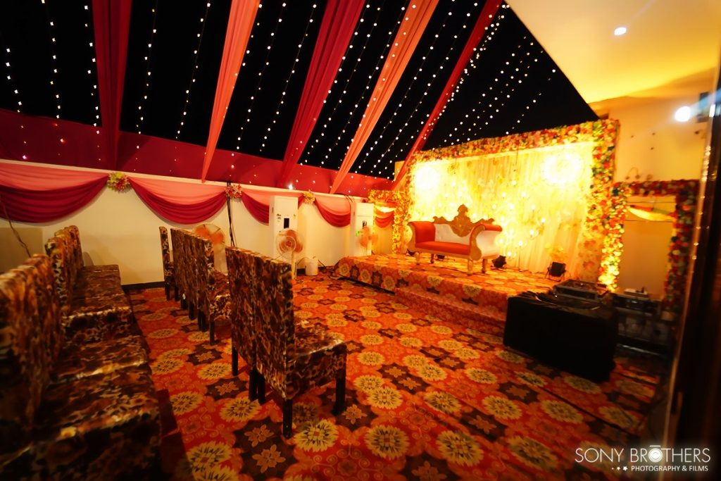 Reception Stage Setup at Sakshi & Royal's one of the most beautiful Intimate Weddings in Lockdown