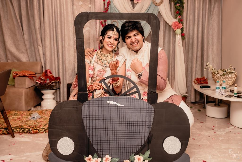 DIY Jaguar Car Prop Used at Shreya & Akshay's Intimate Wedding in Lockdown