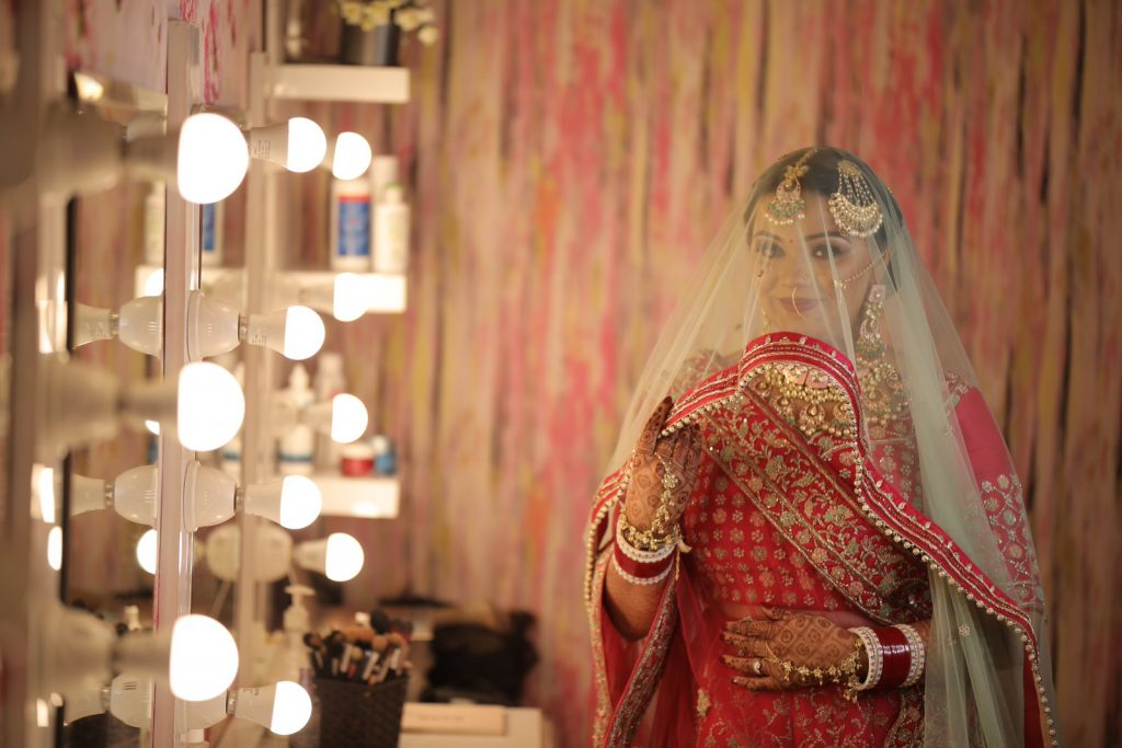 Suhani's Bridal Solo Portrait Picture at her one of the most beautiful Intimate Weddings in Lockdown