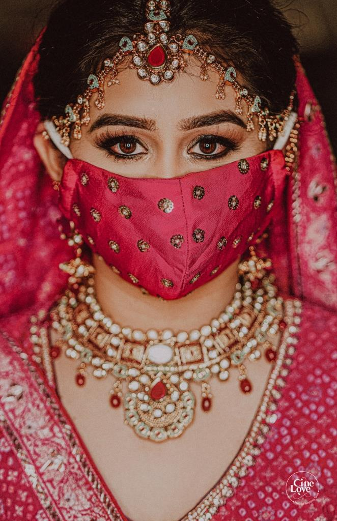Stunning Look of Arushi in Designer Mask at her Intimate wedding in lockdown
