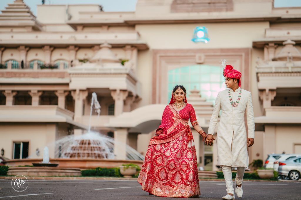 Ayushi & Sarthak Post Wedding Photographs with ITC Grand Bharat in background