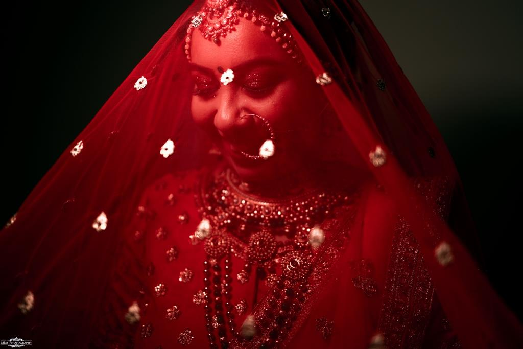 Riddhi in Bridal Veil for her Quarantine Wedding