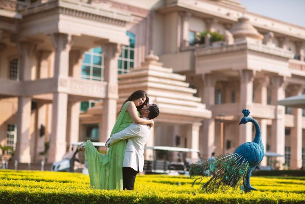 Romantic Portrait Shots of Aakriti & Hitesh before the Royal ITC Grand Bharat Wedding